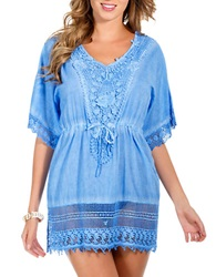 Miraclesuit Lace Trim Tunic Cover Up Blue