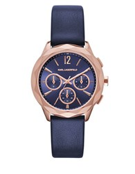Karl Lagerfeld Optik Rose Goldtone Stainless Steel And Leather Watch Navy Rose Gold