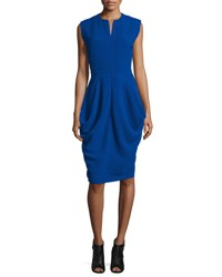Zero Maria Cornejo Sleeveless Draped Waffle Knit Dress Cobalt