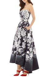 Alfred Sung Women's Floral Print Strapless Sateen High Low Dress