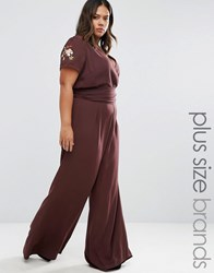 Alice And You Embroidered Jumpsuit Chocolate Brown