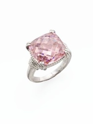 Judith Ripka La Petite Pink Crystal And Sterling Silver Cushion Cocktail Ring