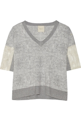 Mason By Michelle Mason Leather Trimmed Knitted Sweater Gray