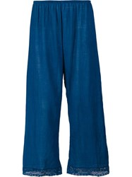 Dosa Lace Trim Cropped Trousers Blue
