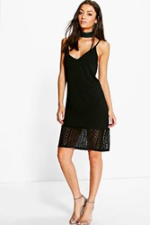 Boohoo Lois Lace Hem And Back V Neck Shift Dress Black