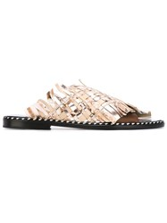 Msgm Woven Flat Sandals Nude And Neutrals