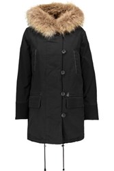 Maje Faux Fur Trimmed Cotton Blend Hooded Coat Black