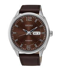 Seiko Snkn49 Recraft Automatic Stainless Steel Brown Leather Strap Watch
