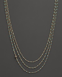 Bloomingdale's Three Strand Faceted Blue Apatite Necklace Linked With Pave Diamond Ball 17