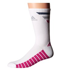 Adidas Single 3 Stripes Crew White Mineral Blue Mid Grey Eqt Pink Men's Crew Cut Socks Shoes