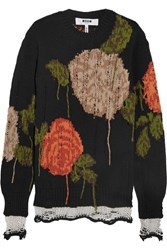Msgm Oversized Floral Intarsia Wool Blend Sweater Black