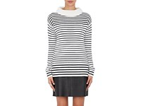 Atm Anthony Thomas Melillo Women's Striped Mock Turtleneck Sweater Black