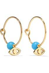 Ileana Makri Satelite Eye Gold Plated Turquoise Hoop Earrings Gold Light Blue