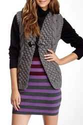 Lavand Cable Knit And Puffer Vest Gray