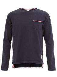 Thom Browne Striped Details Longsleeved T Shirt Blue