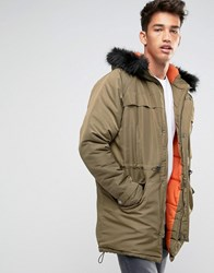Another Influence Hooded Parka Jacket With Faux Fur Hood Green