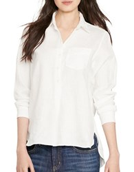 Lauren Ralph Lauren Plus Linen Button Down Shirt White