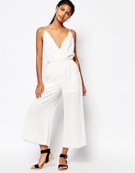 Moon River Raw Edged Jumpsuit Cream