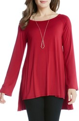 Karen Kane Women's High Low Raglan Top Red
