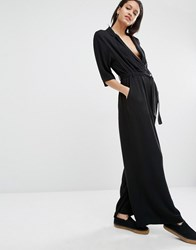 Just Female Brush Jumpsuit With Wrap Detail Black