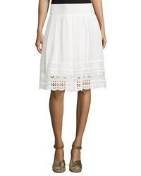 Neiman Marcus Lace Trim A Line Skirt White