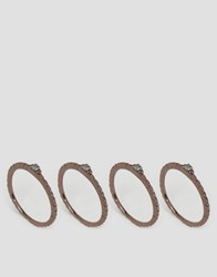 Asos Pack Of 4 Copper Stack Rings Brown