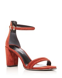 Kenneth Cole Lex Suede Ankle Strap High Heel Sandals Rust