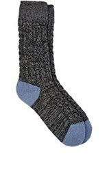 Corgi Cable Knit Mid Calf Socks Black