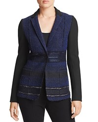 Elie Tahari Dorinda Mixed Media Blazer Black Multi