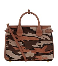 Burberry Shoes And Accessories Medium Camouflage Suede Banner Bag Female Tan