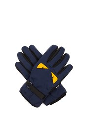 Fendi Bag Bugs Print Gloves Navy