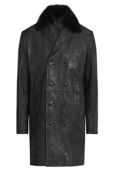 Baldessarini Leather Jacket With Fur Collar Black