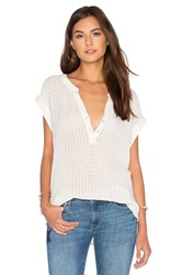 Velvet By Graham And Spencer Elaine Cotton Slub Contrast V Neck Tank Ivory