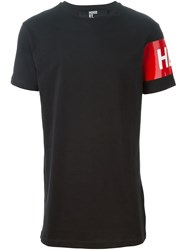 Hood By Air Logo Printed Sleeve T Shirt Black