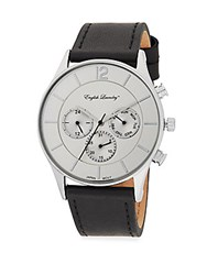English Laundry Leather Strap Chronograph Watch Black Silver