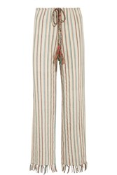 Miguelina Fifi Striped Cotton Blend Wide Leg Pants Cream