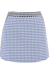 Richard Nicoll Gingham Stretch Cotton Twill Mini Skirt Blue