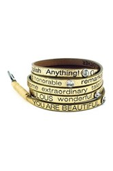 Good Work S Make A Difference Wrap Around Metallic You Are Beautiful Crystal Leather Bracelet