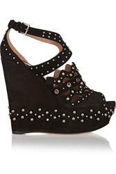 Alaia Studded Suede Wedge Sandals Black