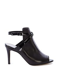 Karen Millen Open Back Ankle Strap Peep Toe Booties Black