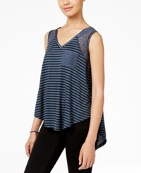 American Rag Striped Lace High Low Tank Top Only At Macy's Grey