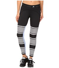 Adidas By Stella Mccartney Studio Clima Stripe Tights Ax7047 Black White Prism Blue