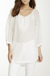 Da Nang Embroidered Tunic Blouse White