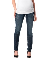 Motherhood Indigo Blue Maternity Distressed Skinny Jeans Deep Sea Wash