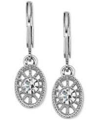 2028 Crystal Filigree Drop Earrings Silver