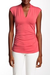 Vince Camuto Side Ruched Pleat V Neck Top Red