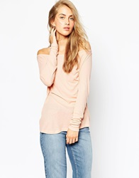 Asos Top With Off Shoulder Detail In Slouchy Fabric Nude