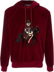 Dolce And Gabbana Cowboy Patch Velvet Hoodie Pink And Purple