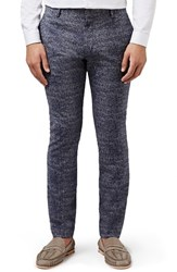 Topman Men's Skinny Fit Micro Houndstooth Suit Trousers