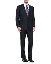 Brioni Pinstriped Suit Navy White Blue